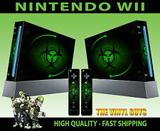 NINTENDO Wii ADESIVO VERDE BIO HAZARD pericolo stile SKIN e 2 SKIN PER PAD