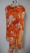 NEW LORO PIANA cashmere silk orange white floral print large scarf shawl wrap