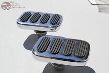 Chrome Rectangle Rectangular Brake Clutch Pedal Pad Set Car Truck Hot Rat Rod