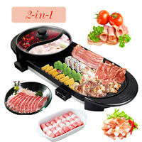 Portable Electric 2 in 1 Hot Pot Soup Barbecue Grill Non-Stick Teppanyaki Pan