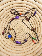 African Bright Painted Long Beaded Clay Necklace boho ethnic tribal jncb44