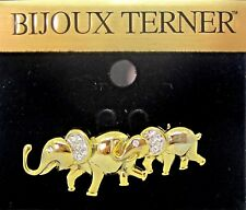 Bijoux Terner Gold Tone Crystals Two Elephant Trunks Up Pin New on Card