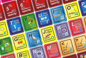 High quality Universal Adobe Photoshop keyboard stickers hot key