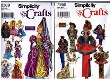 "Simplicity 7959 & 8369 Barbie 11 1/2"" Doll Outfits Dress Pattern s Vintage Uncut"