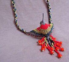 "Native Zuni Made Beaded Hummingbird Multi-color 20"" Necklace 3 strands JN0208"