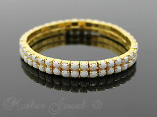YELLOW GOLD PLATED DOUBLE WHITE TENNIS STRETCH LADIES GIRLS BRACELET BANGLE