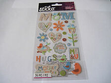 Scrapbooking Stickers Sticko Special Mom Stitched Birds Flowers Sayings More