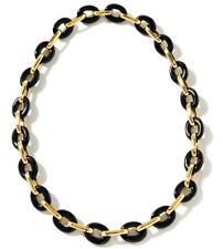 Technibond Bold Black Onyx Necklace 14K Gold Silver HSN