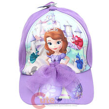 Disney Sofia The First Kids Hat Baseball Cap with 3D Purple Mesh Dress Cotton