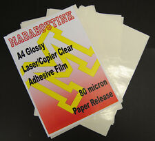 10 A4 Laser Printer Clear Adhesive Sticker Film Sheets 80mic Paper Release