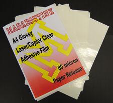 10 A4 Imprimante Laser Transparent Adhésif Autocollant Film Feuilles 80mic