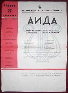 1958 Original Vintage Poster Macedonia National Theatre Skopje Opera Aida Verdi