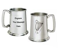 NEW Personalised 1 Pint Irish Harp badge Pewter Tankard Any Message Engraved
