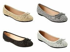 WOMENS GLITTER LACE PARTY FLAT DOLLY BALLET PUMPS SHOES LADIES UK SIZE 3-8