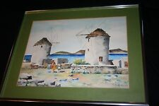 Manos Sofianos Mykonos Windmills 1970s Original Watercolor Signed Greek Greece