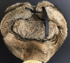 Real Rabbit Fur Hat Russia Trapper Earflap Ski Cap / Natural Brown Rabbit Fur