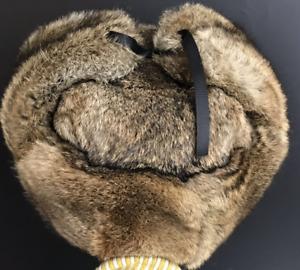 Real Rabbit Fur Hat Russia Trapper Earflap Ski Cap / Natural Brown Rabbit Fur
