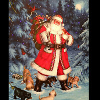 """Raz 20"""" Twinkling LED Lighted Santa With Puppies Scene Print On Canvas"""
