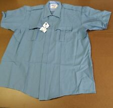 ELBECO DUTYMAX MEN POLICE/SECURITY SHORT-SLEEVE SHIRT POLYESTER RAYON BLUE SZ 18