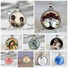 Women/Men Glass Cover Vintage Art Pendant Silver Chain Necklace Keynote Charm