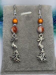 Silver Plated Phoenix & Bead 🧡 Dangle Earrings 🧡 Perfect Gift