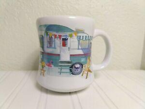 Hallmark Vintage Camper RV Aqua Ceramic Coffee Tea Mug Cup