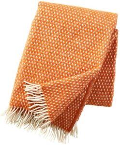 NEUF Klippan: plaid pure laine crème orange 'Knut' 100% laine agneau 130x200