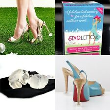 Genuine Starlettos High Heel Protectors Stiletto Shoe Clear Stoppers Grass