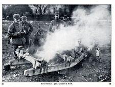 Deutsche Landser beim Abkochen Historische Aufnahme von 1915