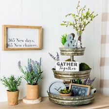 1x3 Tier Galvanized Round Metal Stand Outdoor Indoor New Home Decor