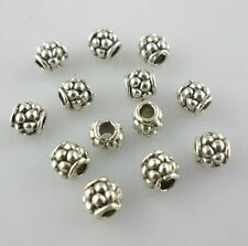 100pcs Tibetan Silver Charms Loose Hole 2mm Tube Spacer Beads 4x4mm