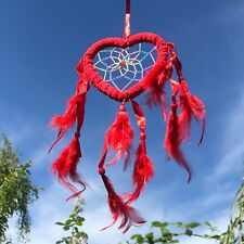New Small Fluffy Red Love Heart Dream Catcher Native American Hanging Mobile