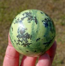 Green Serpentine JADE Crystal Sphere Ball Pyrite Kundalini Energy Stone w/Pyrite