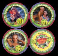 $5 Las Vegas Tropicana Hawaiian Tropic Casino Chip Set of 3 - UNC