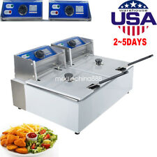Electric 11L Dual Tanks Deep Fryer Commercial Tabletop French Fryer Fast Food