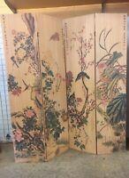 RARE Tall Calligraphy Design Wood Bamboo Hinge Panel Screen Room Divider Vintage