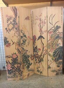 RARE Tall Bamboo Room Panel Divider Privacy Screen Vintage Sweeping Nature Vista