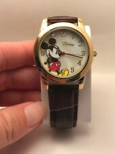 Brown Leather Band Watch R6 Disney Accutime Mickey Mouse Mk1320