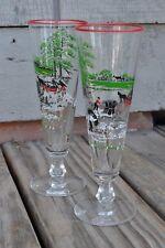 Vintage set of 2 Currier & Ives LIBBEY Pilsner Beer Glasses Farm Scene Pattern