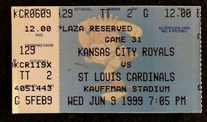 1999 Kansas City Royals vs St Louis Cardinals Kauffman Stadium Ticket Stub