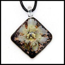 Fashion Women's Slant lampwork Murano art glass beaded pendant necklace #M216