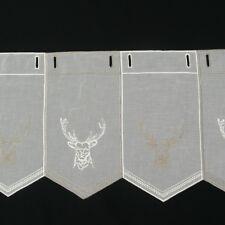 Gardine Bistrogardine Panneaux Stickerei Hirsch natur taupe 30cm Höhe
