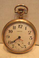 Capitol Buren Watch Co Open Face 16 Size Railroad Pocket Watch Swiss Movement