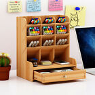 Wooden Pen Pencil Storage Holder Organizer Office Desk Tidy Case w/ Large Drawer