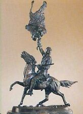 Buffalo Signal Lost Wax Cast Bronze Statue Sculpture by Frederic Remington Mini