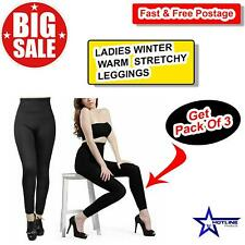 WOMEN'S LADIES WINTER WARM THICK FLEECE LINING STRETCHY COSY LEGGINGS Pack Of 3.