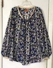 TORY BURCH CREAM BLUE FLORAL SILK TUNIC BLOUSE SHIRT TOP-6💙