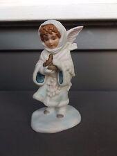 Unique Vintage Enesco Winter Angel Holding Bird Nest Figurine Bisque Porcelain