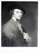 • Antique • SIR JOSHUA REYNOLDS SELF-PORTRAIT • 1854 Print by T. W. Hunt -RARE •