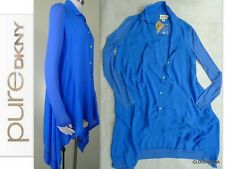 NWT PURE DKNY($235) Size XP Mixed Media Asymmetrical Hem Long Shirt light Jacket